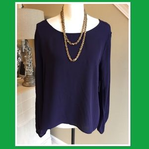 NWT's Charlotte Russe sz Large Navy blue blouse